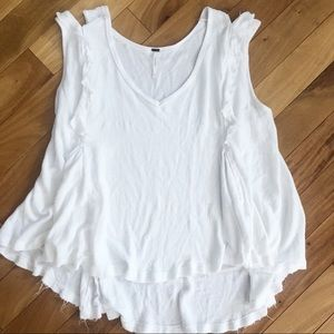 Free People | White Ruffle Accent Top